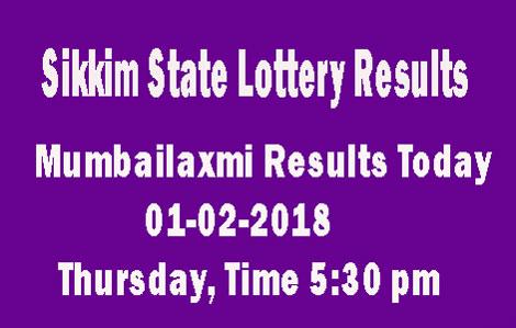 1-2-2018 Sikkim MUMBAILAXMI Lottery Result