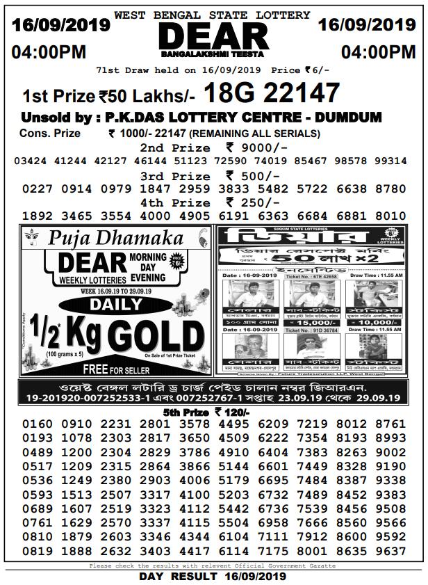 16-9-2019 Dear Bangalakshmi Teesta 71st Draw Result