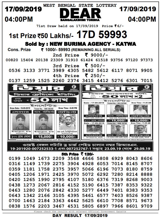 17-9-2019 Dear Bangalakshmi Torsha 71st Draw Result