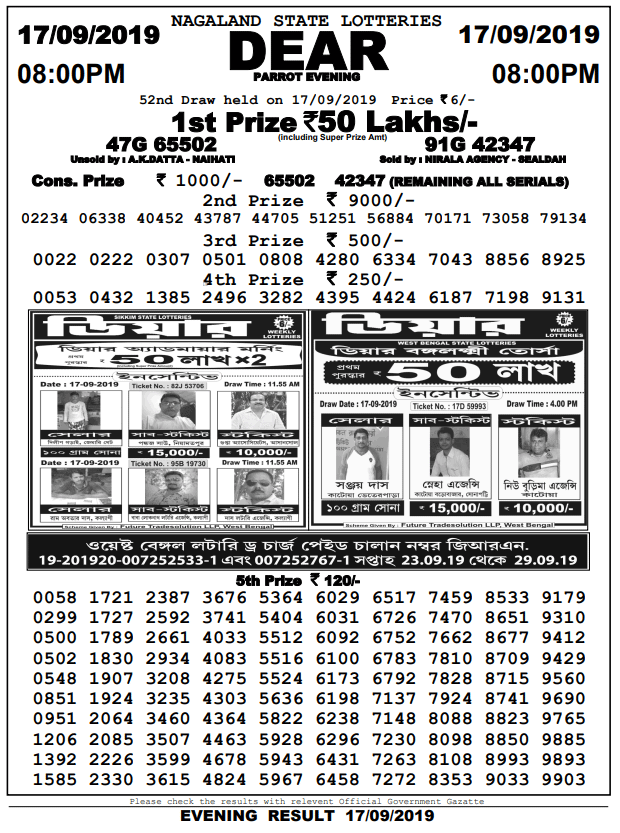 17-9-2019 Dear Parrot 52nd Draw Result