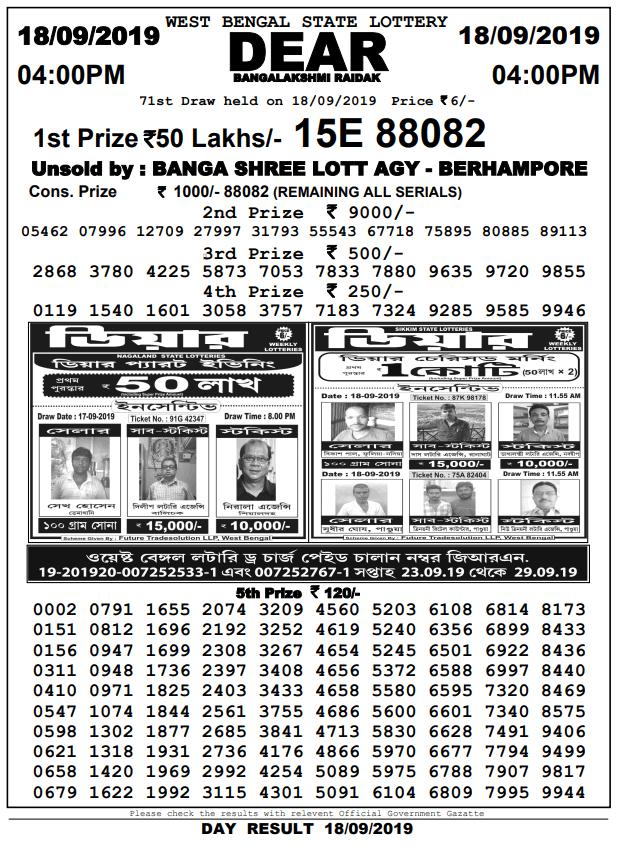 18-9-2019 Dear Bangalakshmi Raidak 71st Draw Result