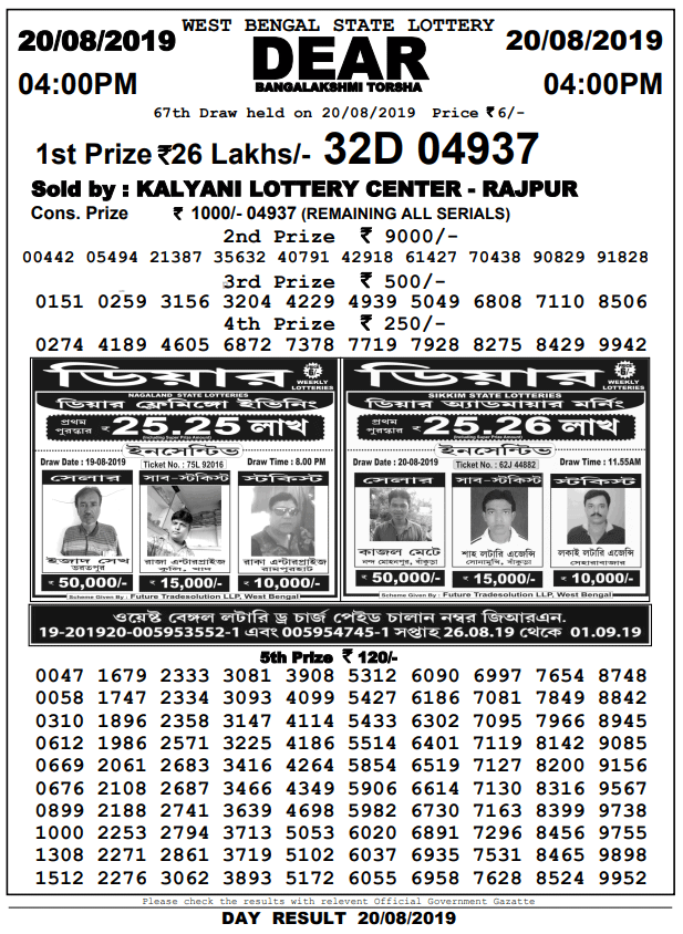 West Bengal State Lottery Result | 20-8-2019