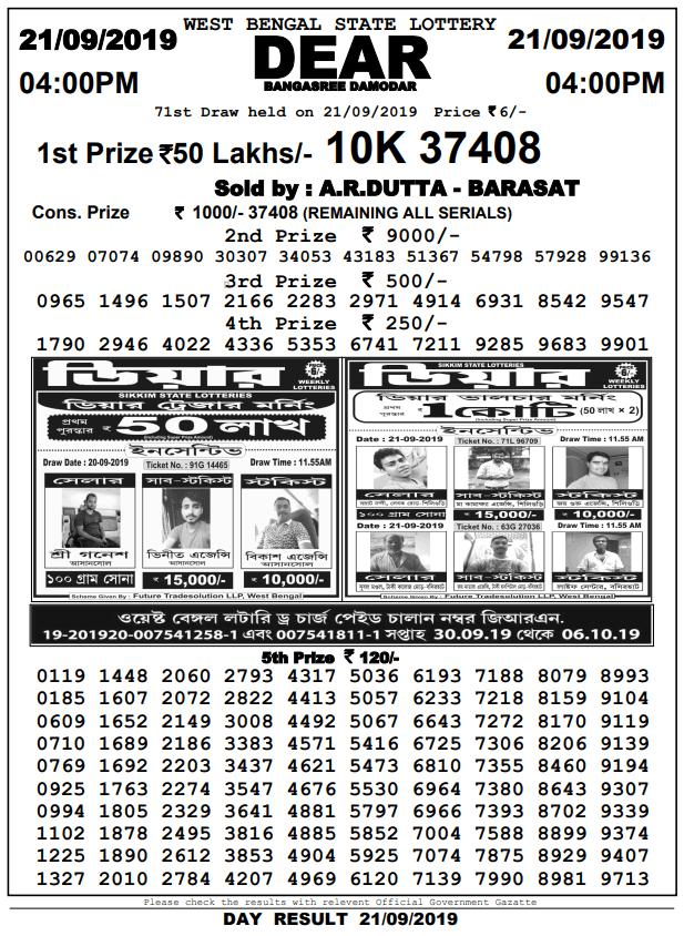 21-9-2019 Dear BAngasree Damodar 71st draw result