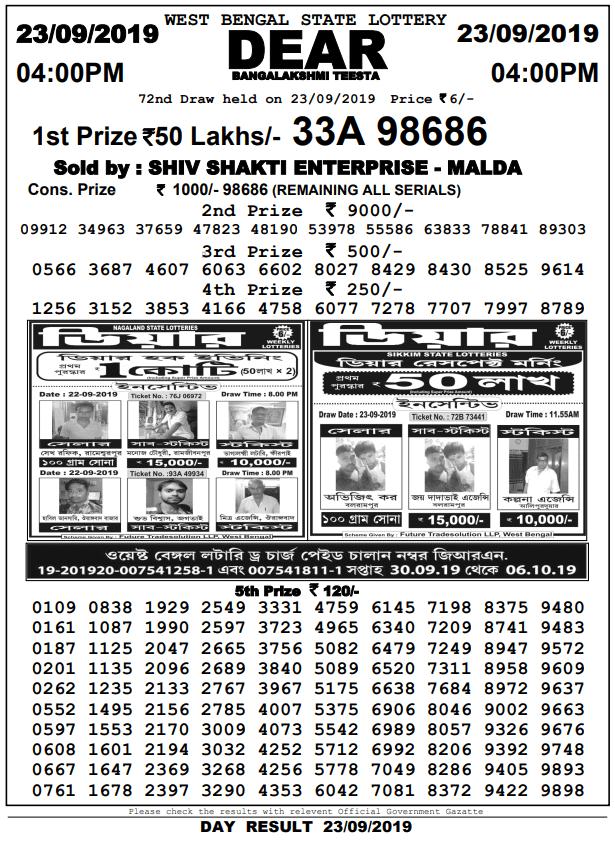 23-9-2019 Dear Bangalakshmi teesta 72nd draw result