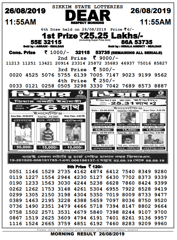 26-11-2019 Dear Respect Morning Result Sikkim State Lotteries