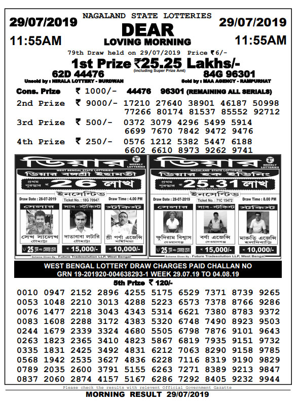29-7-2019 Dear Loving Sambad Lottery Result
