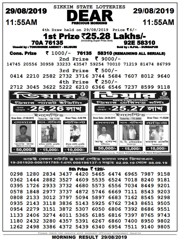 29-8-2019 Dear Precious Result Sikkim Lotteries