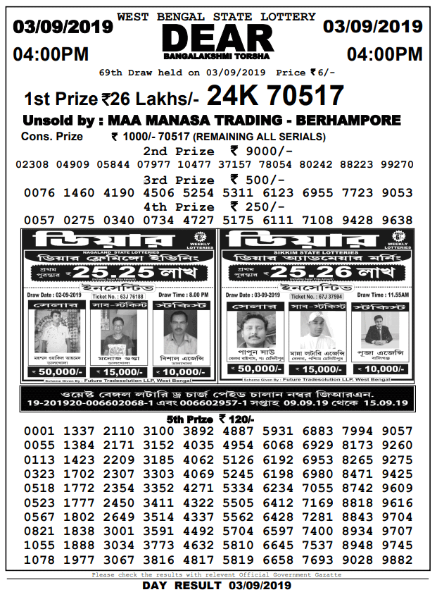 3-9-2019 Dear Bangalakshmi Torsha 69th Draw Result