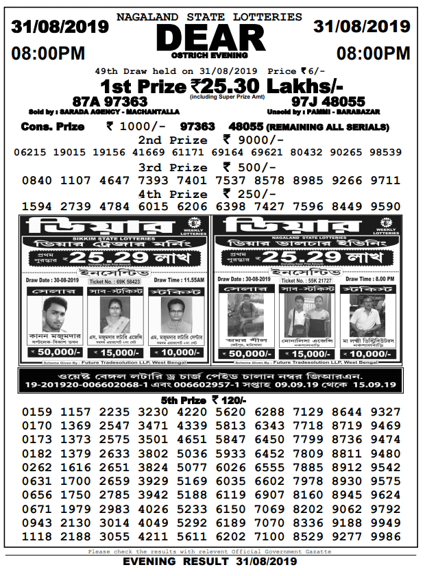 31-8-2019 dear ostrich 49th draw result