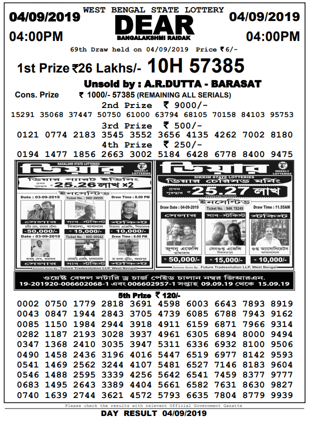4-9-2019 Banga Lakshmi Raidak 69th Draw Result