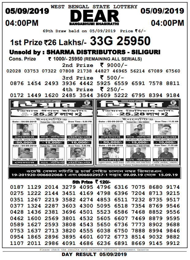 5-9-2019 Banga Bhumi Bhagirathi 69th Draw Result