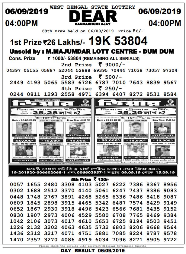 6-9-2019 Dear Bangabhumi Ajay 69th Draw Result