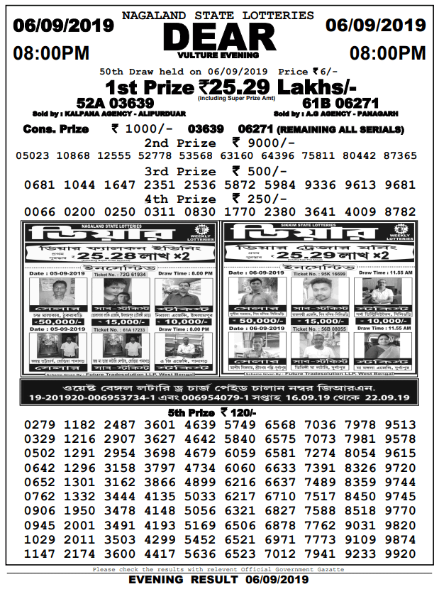 6-9-2019 Dear Vulture Evening Result 50th Draw Result