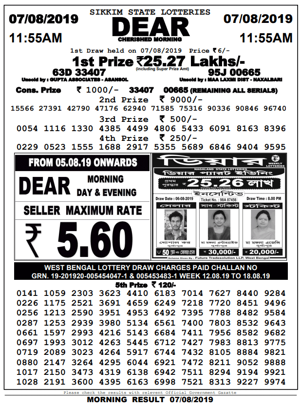 7-8-2019 | Dear Cherished Morning Result Sikkim State Lotteries
