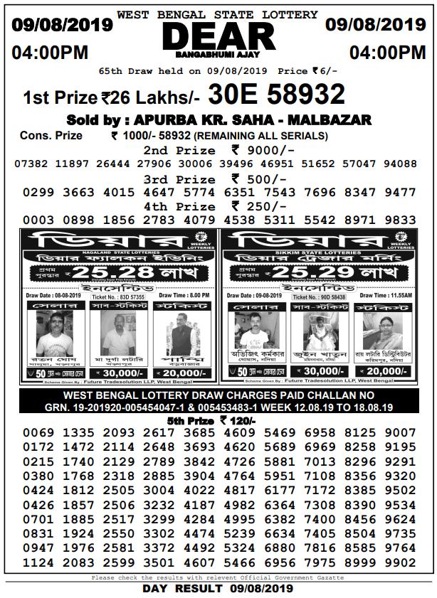 9-8-2019 | Bangabhumi Ajay West Bengal State Lotteries